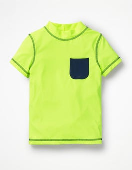 Neon Yellow Short-sleeved Rash Guard