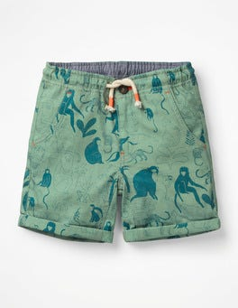 Patina Green Monkeys Roll-up Shorts