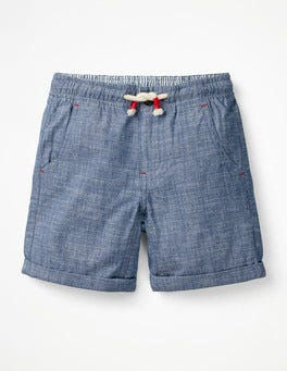 Light Blue Chambray Roll-up Shorts
