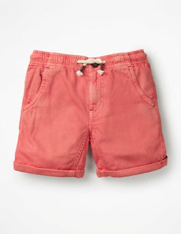 Baked Coral Orange Roll-up Shorts