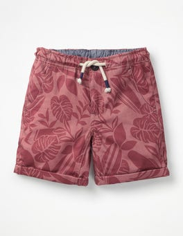 Dezentes Rot, Palmenblätter Shorts zum Aufrollen