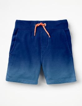 Dip-Dyed Blue Jersey Shorts
