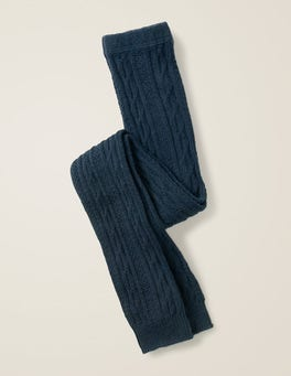 Navy Blue Cable Footless Tights
