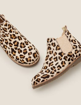 Tan Leopard Leather Chelsea Boots