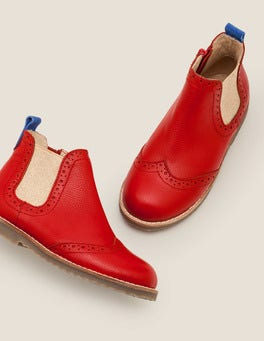 Rockabilly Red Leather Chelsea Boots