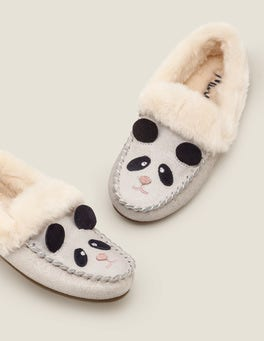 Neutral Sparkle Suede Panda Slippers