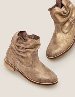 Camel Sparkle Suede Slouchy Boots