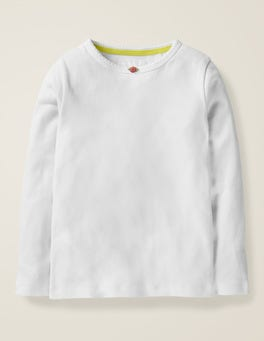 White Long-sleeved Rosebud T-shirt