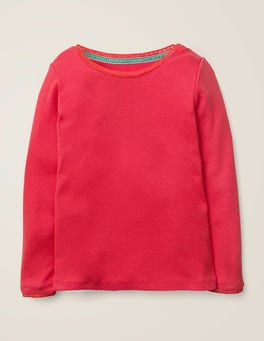 Carmine Red Supersoft Pointelle T-shirt