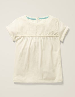 Ivory Star Embroidered Jersey Top