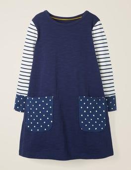 College Blue/Spot Fun Pocket Jersey Dress