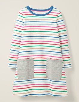 Rainbow Multi Stripe Fun Pocket Jersey Dress
