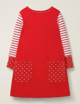 Poppadew Red/Spot Fun Pocket Jersey Dress