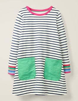 Ivory/College Blue Stripe Fun Pocket Jersey Dress