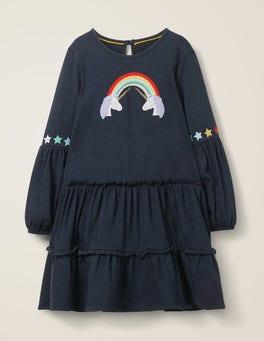 Stormy Blue Unicorns Bright Tiered Jersey Dress