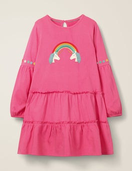 Pink Sorbet Unicorns Bright Tiered Jersey Dress