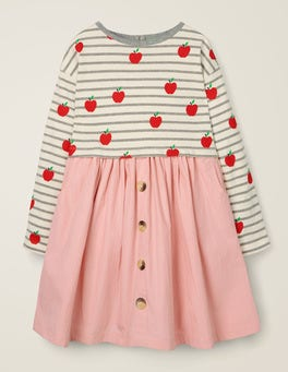 Grey Marl/Ivory Apples Hotchpotch Dress
