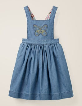 Mid Vintage Denim/Butterfly Embroidered Pinafore Dress