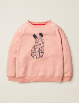 Provence Dusty Pink Marl Cat Printed Pet Pals Sweatshirt