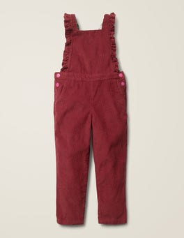 Bramble Red Chunky Cord Frill Dungarees