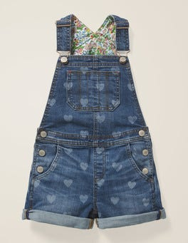 Mid Vintage Hearts Short Overalls
