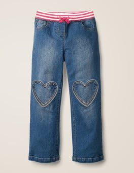Mid Vintage Heart Patch Jeans