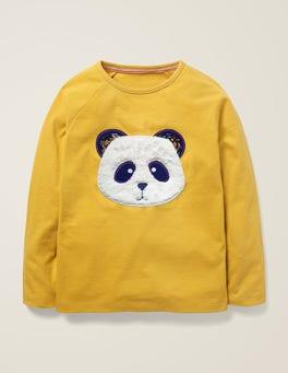 Senfgelb, Panda T-Shirt mit Tiergesicht