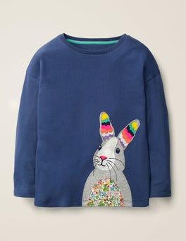 College Blue Rabbit Big Appliqué T-shirt