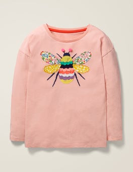 Provence Dusty Pink Bee Big Appliqué T-shirt