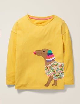 Spicy Mustard Yellow Dog Big Appliqué T-shirt
