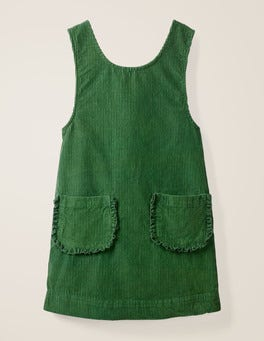 Willow Green Pocket Cord Pinafore Dress