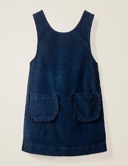 School Navy Pocket Cord Pinafore Dress