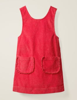 Strawberry Tart Red Pocket Cord Pinafore Dress