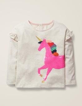 Licorne avoine T-shirt à sequins réversibles