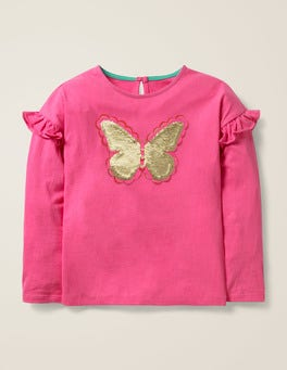 Pink Sorbet Butterfly Colour-change Sequin T-shirt