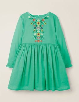 Asparagus Green Embroidered Detail Dress