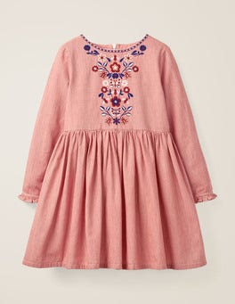 Raspberry Pink Ticking Stripe Embroidered Detail Dress