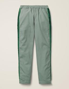 Pottery Green Woven Side Stripe Pants