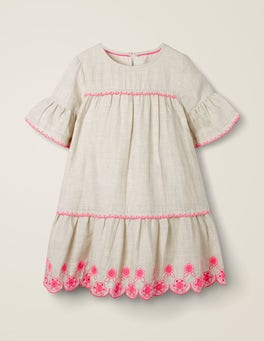 Grau Meliert/FestivalrosaKleid mit abgesetzter Taille und Lochstickerei
