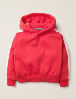 Carmine Red Stripe Detail Hoodie