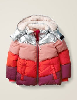 Silver/Poppadew Red Chevron Cosy Padded Jacket