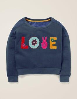 Dunkelblau, Love Sweatshirt mit Slogan