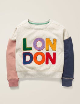 Oatmeal Marl London Slogan Sweatshirt