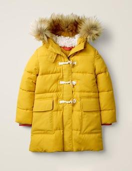 Warmes Gelb Lange Jacke mit Wattierung