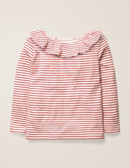 Ivory/Carmine Red Ruffle Neck Top