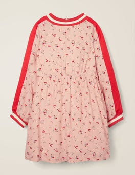 Provence Dusty Pink Star Sprig Contrast Sleeve Printed Dress