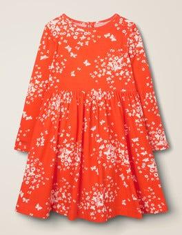 Poppadew Red Butterfly Breeze Printed Twirly Jersey Dress