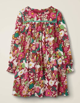 Brombeerrot, BlumenmusterGemustertes Kleid mit gerüschtem Kragen