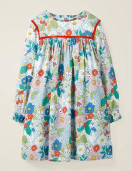 Provence Blue Florabunda Frill Neck Printed Dress