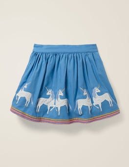 Elizabethan Blue Unicorns Appliqué Hem Skirt
